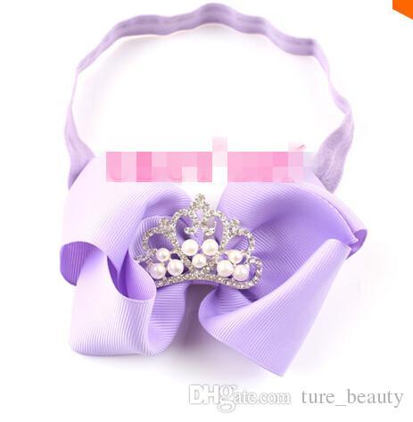 30% de rabais 16 COULEURS 4inch Grosgrain Bows avec des bandeaux élastiques Baby Hair Hair Beads Tiara Accessoires pour cheveux