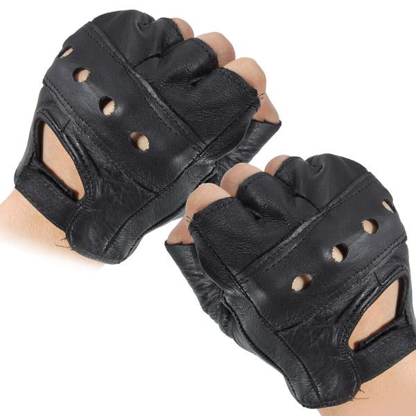 Medium Black Sports Cowhide Bike Driving Motorcycle Motorbike Sport Fingerless Half Finger Leather Gloves order<$18no track
