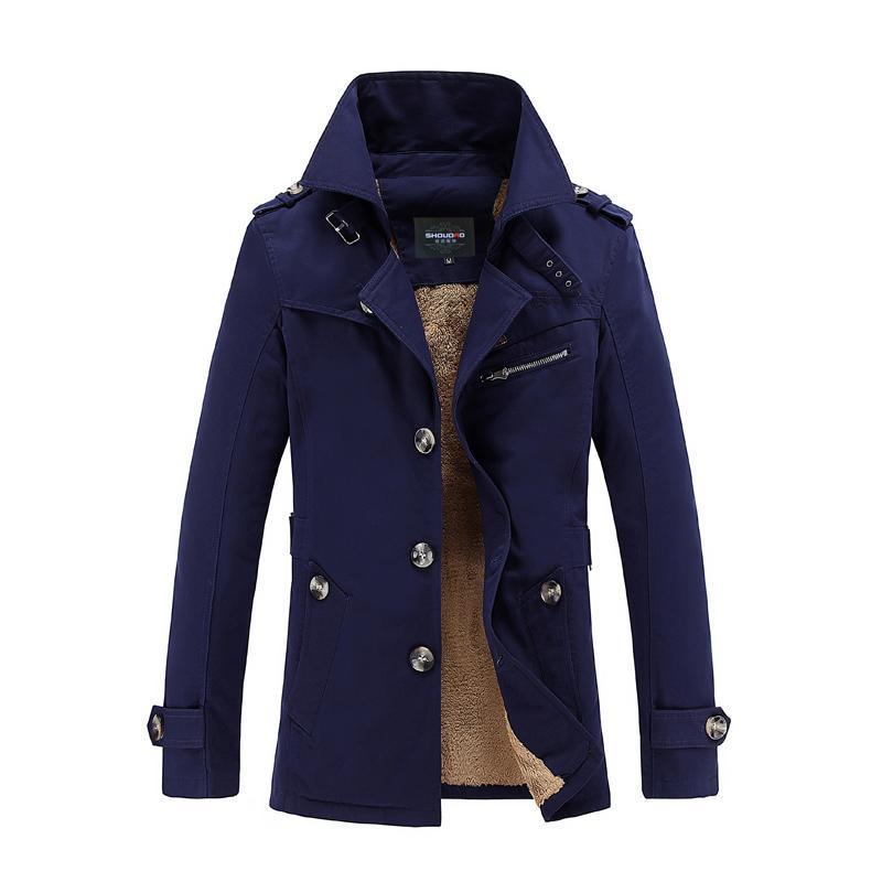 b78ea5efe2 Giacche invernali uomo e cappotti ispessimento lana frangivento  impermeabile pelle calda pelliccia di agnello trench coat Jaqueta de couro  M-5XL