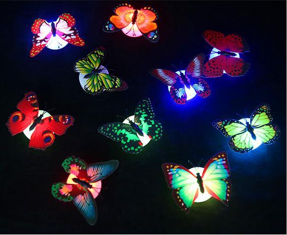 Colorida Fibra óptica Mariposa Nightlight 1W LED Mariposa para la sala de bodas Decoración de la luz de la noche Pasta en luces de pared NL009