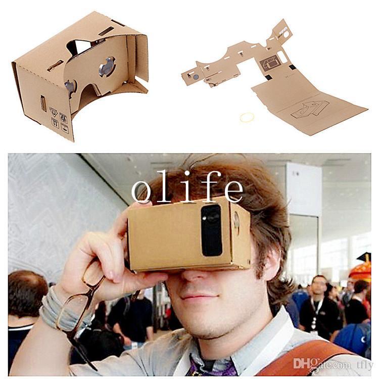 2015 Google Carton VR Virtual Reality Virtual Lunettes 3D Miroir Tempête Kit de bricolage et strap de tête pour iPhone 6 6plus 5 5S 4 Samsung S6 Edge