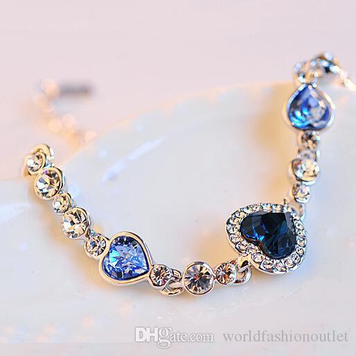 Charme Bracelets Amour Coeur De L'océan Top Qualité Mode Charme Cristal Bracelet Coréen Style Diamant Bijoux Autrichien Filles Cadeau D'anniversaire