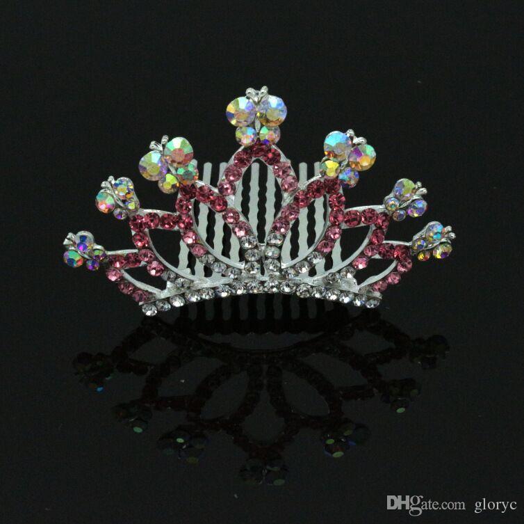 2016 new design popular bridal cystal classic comb crown,concise crown,children crown,girl tiara hair crown GL-CR09