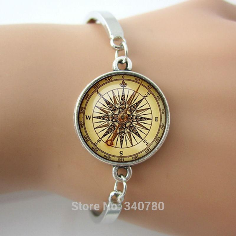 Summer new design gift for best friends,compass bracelet men jewelry Plated metal cuff bangles steampunk bijoux