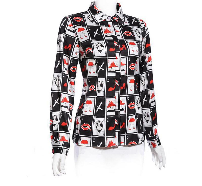 2016 Spring Women Clothes Europe Style Women Retro Masquerade Series Twill Long-sleeved Printing Shirt Ladies Tops Blouses for Women