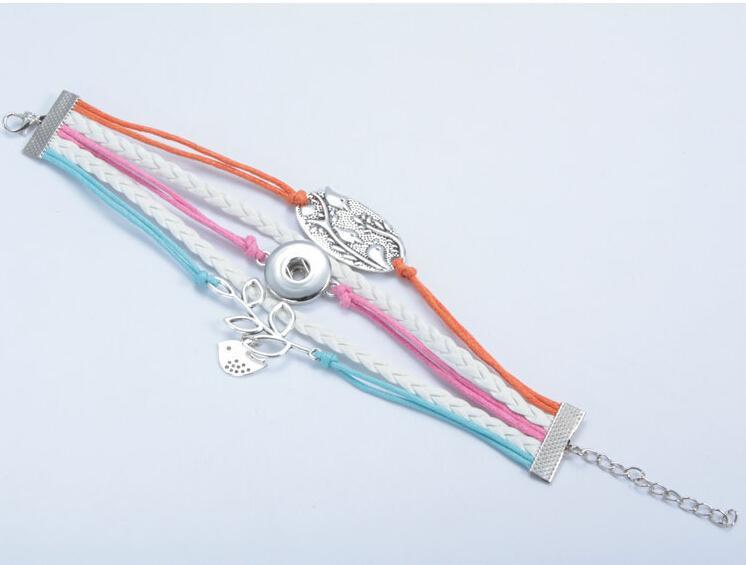 Yeni varış damla teslimat kuş yaprak noosa düğmesi bilezik alaşım pu leater dokuma el yapımı snap düğmesi bilezik 18mm için 18 ...