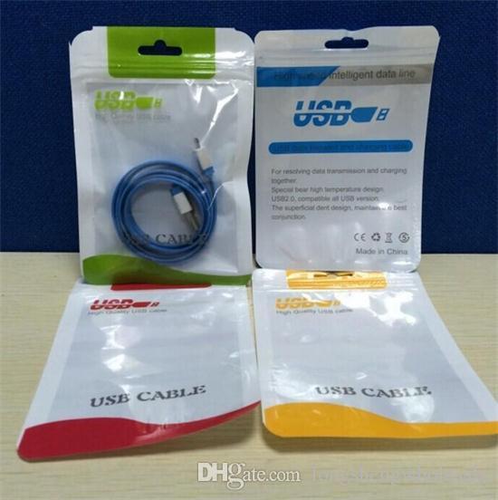 지퍼 플라스틱 소매 가방 패키지 중단 구멍 USB 케이블 poly opp 포장 가방에 대 한 폴 리 포장