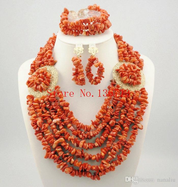 Unique New Peach Coral Color Turquoise Beaded Nigerian Wedding Beads African Beads Jewelry Set HD601-1
