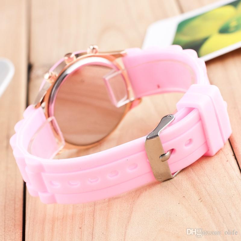 Мода повседневная тень стиль розовое золото красочные женщины мужчины Женева смотреть резиновые кремния конфеты желе силиконовые Кварцевые наручные часы бесплатная доставка