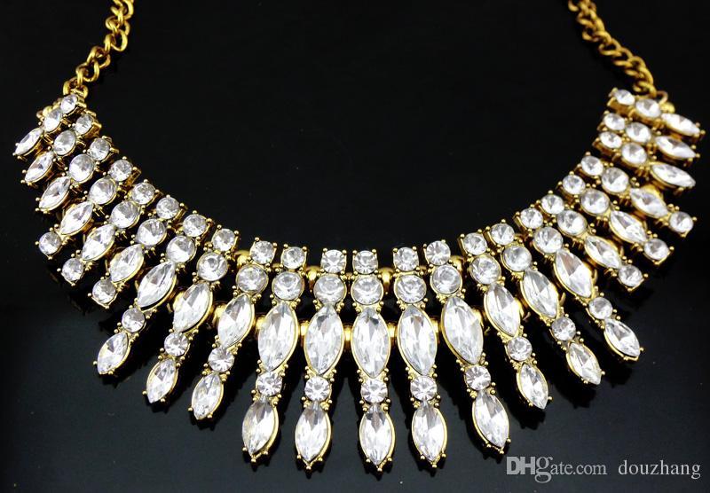 Mode À La Mode Inspiré Briller Cristal Goutte Colliers Rétro Or Chaîne Foulard Déclaration Colliers Bib Collar Bijoux