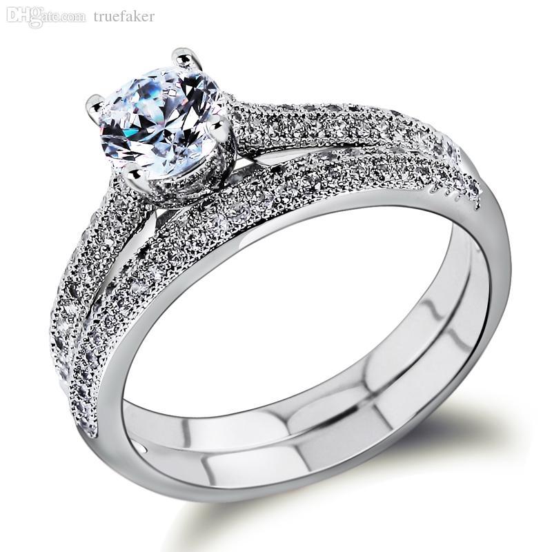 Wholesale Bridal Wedding Rings Set 18k Gold Ring White Gold Plate
