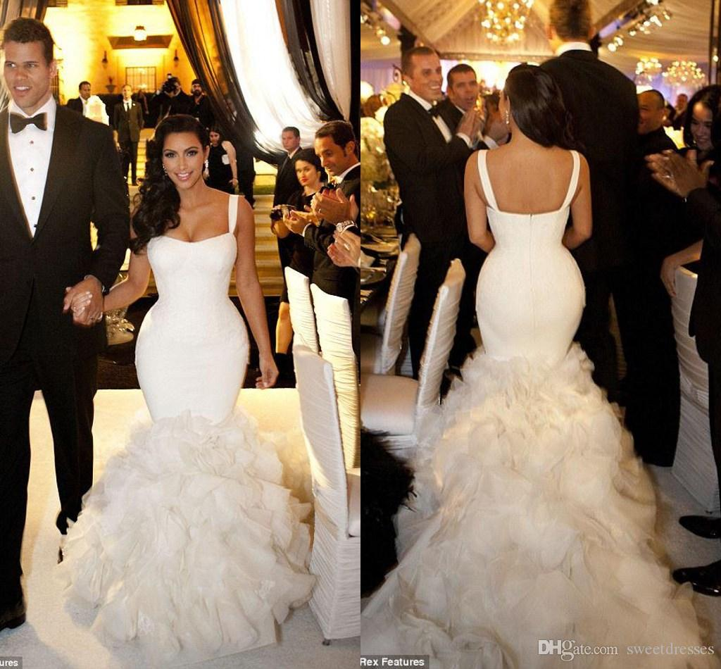 2015 kim kardashian celebrity wedding dresses real model sexy straps 2015 kim kardashian celebrity wedding dresses real model sexy straps lace ruffles mermaid wedding dress bridal gowns chapel train gd 332 affordable lace junglespirit Gallery