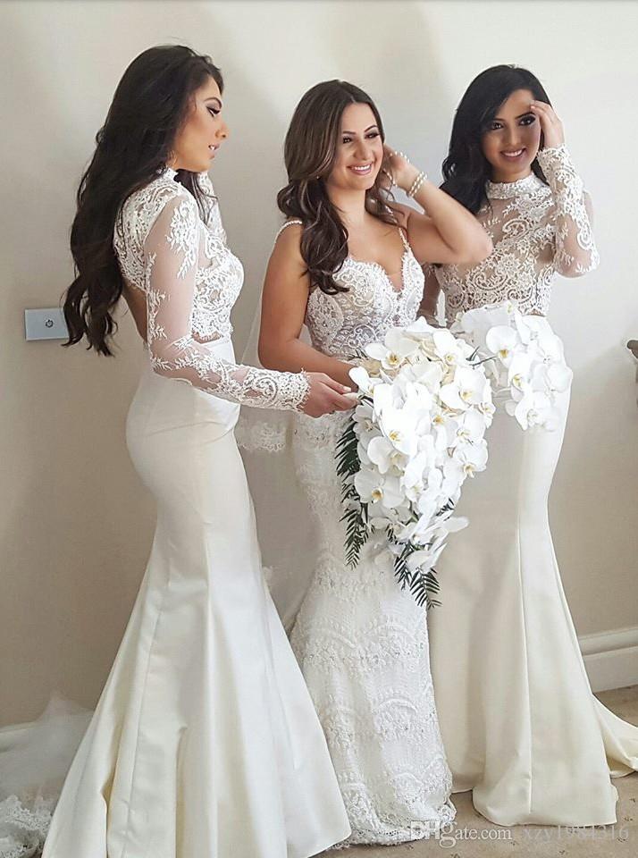 Di vendita caldo della sirena Bridesmaids abiti a collo alto con maniche lunghe di Applique Due pezzi da damigella d'onore raso di modo lungo un matrimonio abito