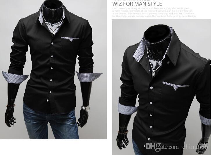 Maglietta della camicia a maniche lunghe casuale degli uomini di colore solido degli uomini nuovi di vendita liberi della camicia degli uomini liberi di trasporto
