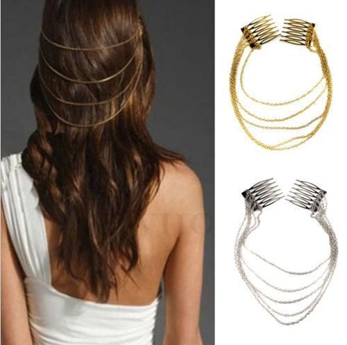1 x Pin punky del punky del pelo de la manera Clip 2 Peines Borlas Cadenas Head Band Silver / Gold Joyería del pelo de la boda de la manera