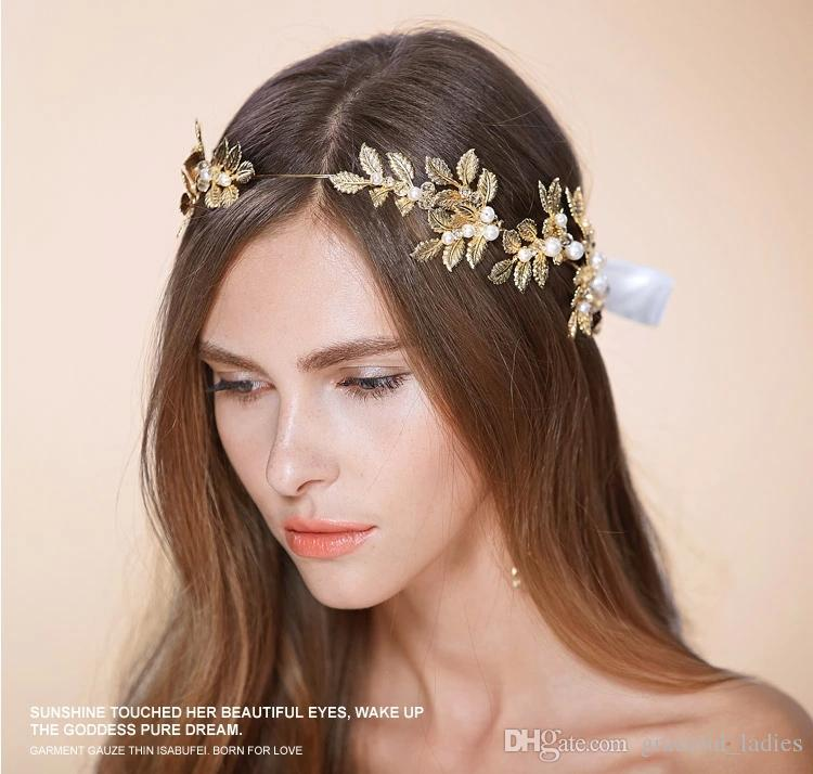 Gold Leaves Wedding Tiaras Hairband Bridal Hair Accessories No