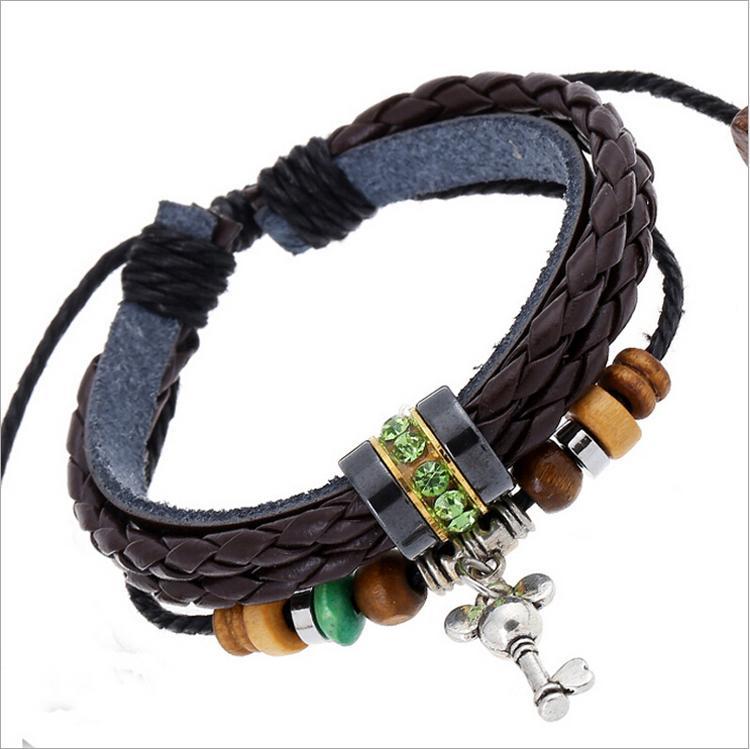 Helt ny personlighet nyckel charms armband mode oändlighet grön rhinestone pärlstav för män läder armband smycken