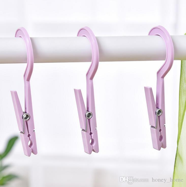 Plastic Clothes Pegs Travel Portable Hanging Hook Clothes Pin Clips Household Clothespins Socks Underwear Drying Rack