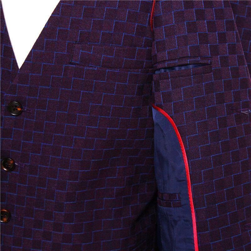 New Mens Casual Blazers Jacket Purple Plaid Pattern Wool Slim England Suit Blaser Masculino Male Jacket Blazer Men Size XS-4XL