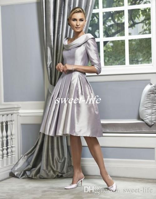 32c386220e Compre Boda De Plata Vestidos Para La Madre De La Novia Longitud De La  Rodilla Scoop Ruffles Medias De Satén 2016 Vintage Mujer Vestidos De Fiesta  Formal ...