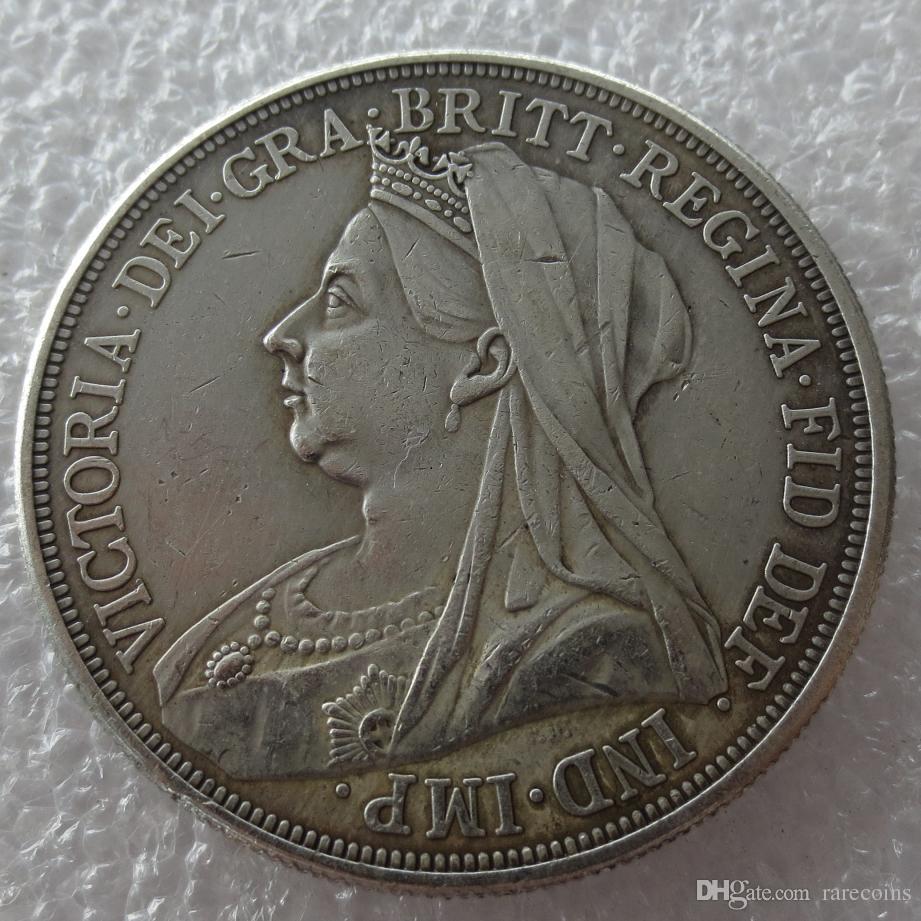 1897 Great Britain silver crown Queen Victoria veiled head copy coin high  quality