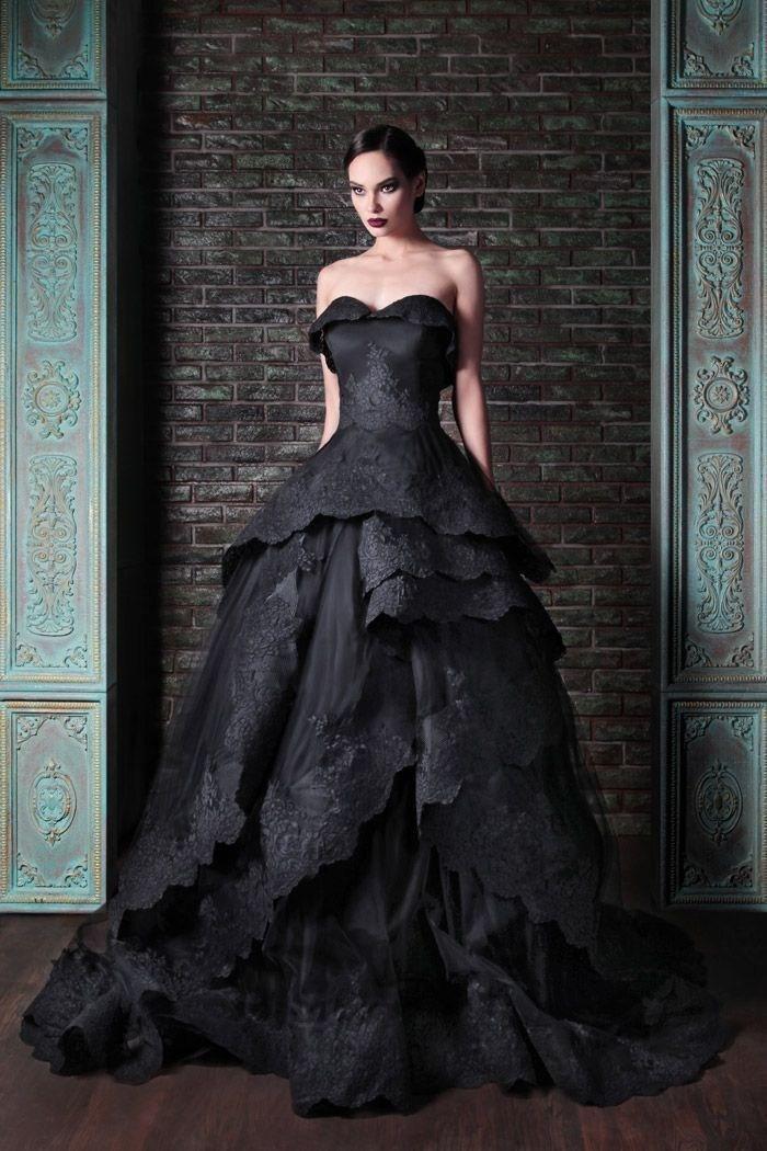 New gothic preto vestidos de casamento querida Vintage Ruffles Lace Tulle vestido de baile Sweep trem Tie up de volta vestidos de noiva Custom W644