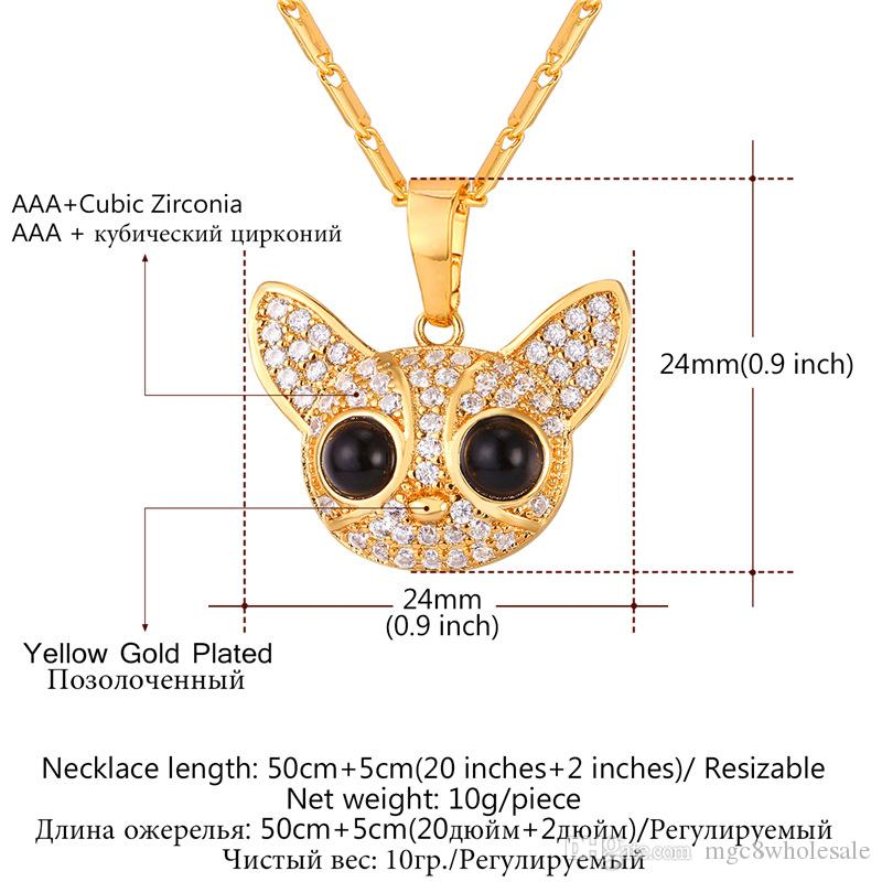 U7 Chihuahua Lovely Dog Pendant Necklace Gold/Platinum Plated Cubic Zirconia Lucky Cute Pet Jewelry Gift Chain for Men/Women P2584
