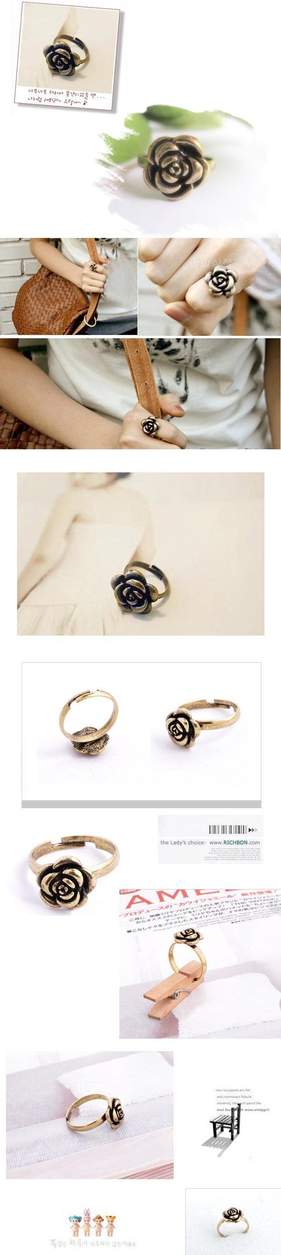 New Fashion Jewelry Gift Cluster Anelli Fiore rosa Etnici Regolabile Anello le donne Accessori le donne Gioielli Retro Anelli di bronzo antico