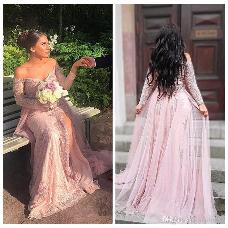 42a9f07227 Grace 2018 Off Shoulder Prom Dresses Long Sleeves Lace Appliques Beaded  Side Split Detachable Skirt Pageant Party Dress Arabic Formal Evenin