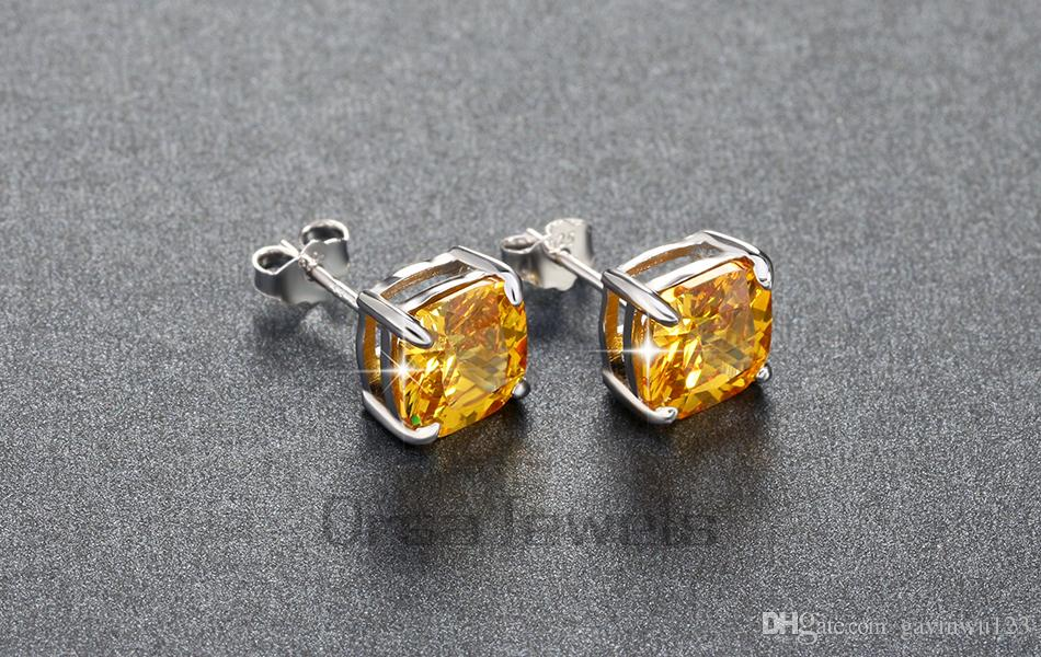 ORSA 8mm Cushion Cut Yellow Zircon Earring Stud on Platinum Plated Imitation Diamond Earring for Women OE124