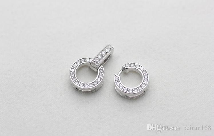 Envío libre Al Por Mayor accesorios de perlas Yu fu yuan 925 incrustaciones de plata Rhinestone Doble círculo collar de perlas pulsera hebilla YPJ36