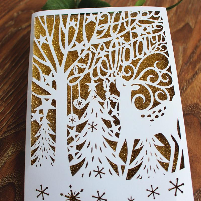 Customize laser cutting christmas card gold powder coating free customize laser cutting christmas card gold powder coating free printing happy holiday greeting cards post cards friendship cards fun cards from candyboxes m4hsunfo