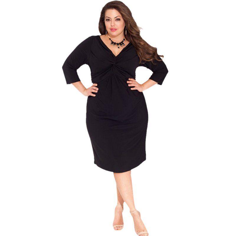 Plus Size Womens Sexy Bodycon V Neck Midi Dress V Neck Black Lace