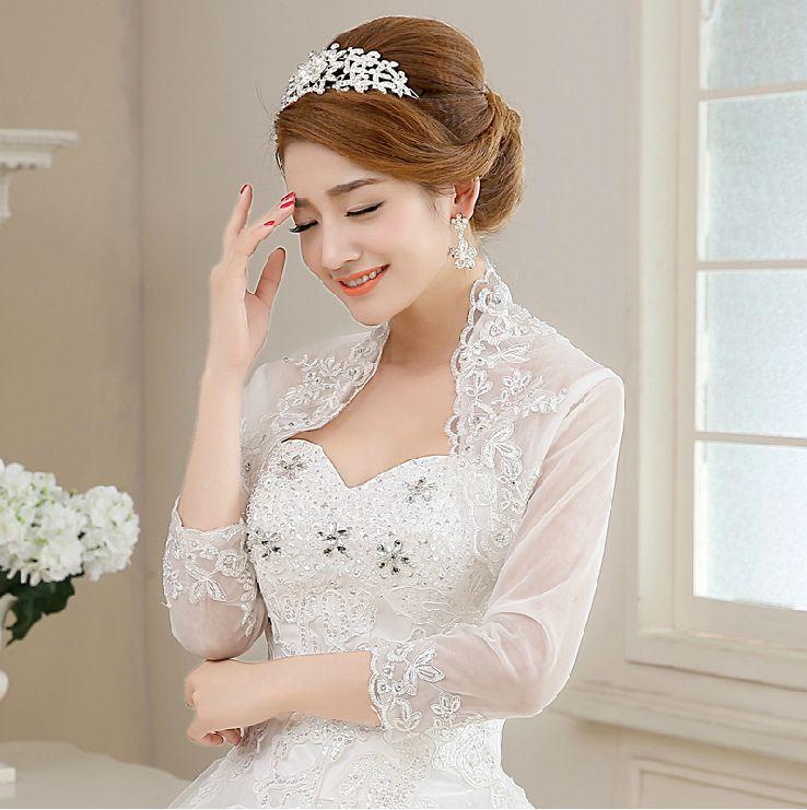 Lace Bridal Shawl Wedding Wraps Jacket Long Sleeve Bolero White Ivory Custom Made