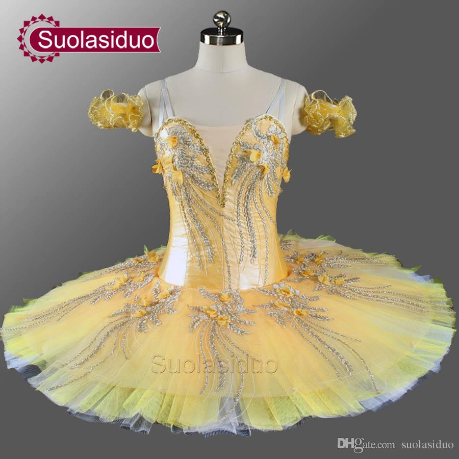cd337a003c98 2019 Girls Professional Ballet Tutu Yellow Gold Flower Fairy Pancake ...