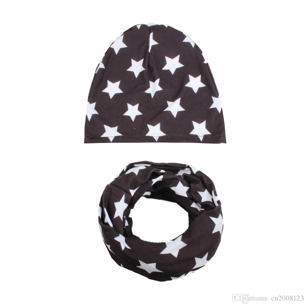 Hot Sale Fashion Baby Boys Girls Star Beanie Cotton Hats Scarf Set Set Toddler Cap Child Spring warm knitted hat BW105