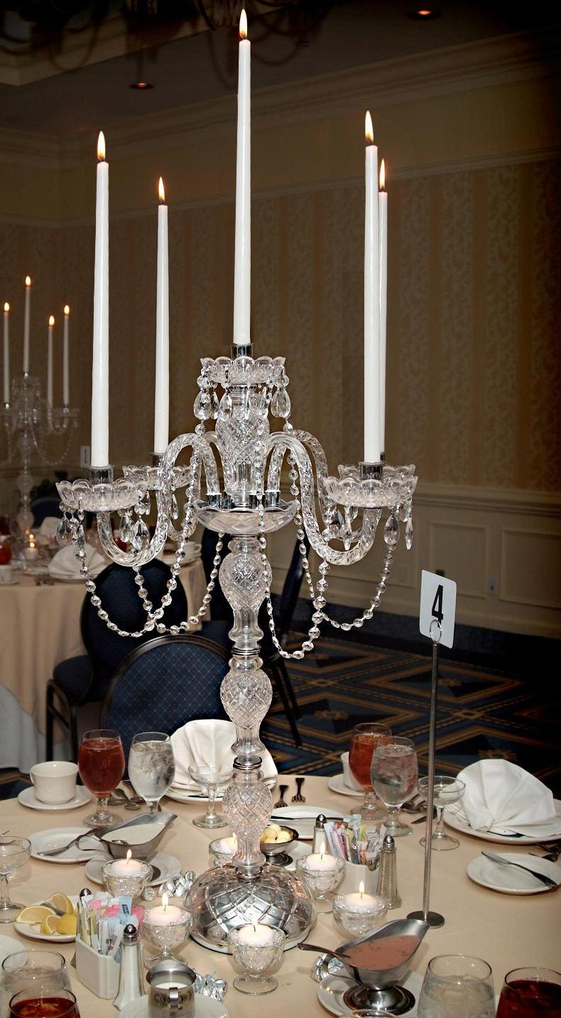 Big Chrome Restaurant Table Lamps Silver Grey Glass Candelabra Led Tall  Candle Holders For Wedding Dining