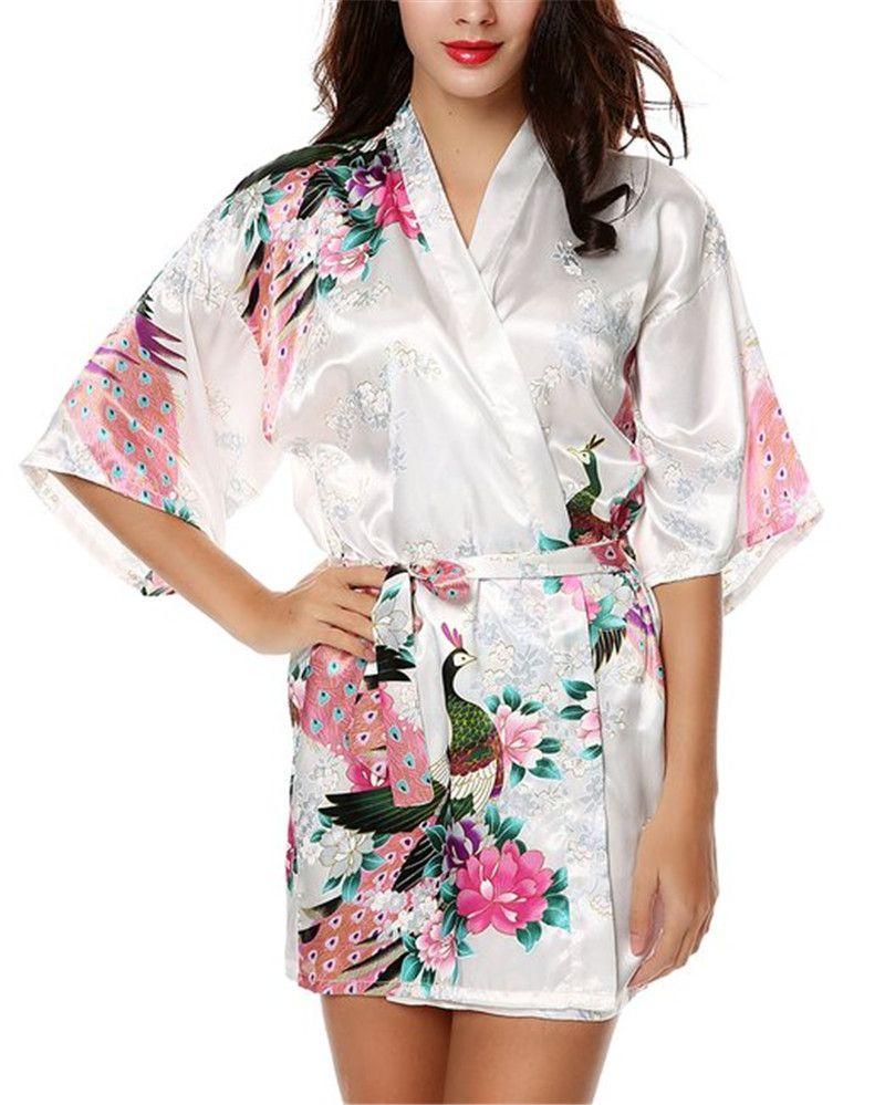 Ladies Satin Robes Wedding Robe Sleepwear Pijama Bathrobe Women's Peacock And Blossoms Silk Kimono Robe Sexy Nightgown