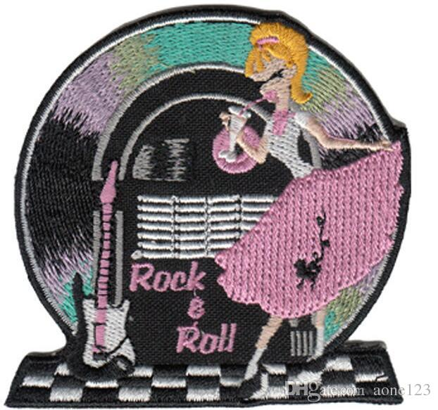 wholesale computer rock & roll music embroidery patches beautiful patch dress decration hot cut iron on cheap price