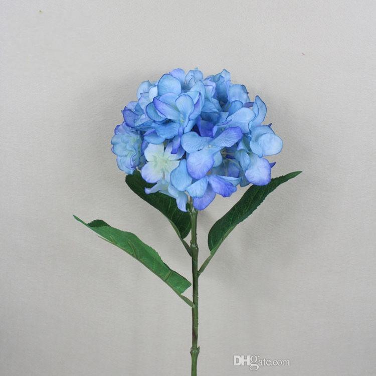 Bouquet d'hortensia de tissu de fleur de soie artificielle blanche de style pastoral européen pour les décorations de noce 6 couleurs