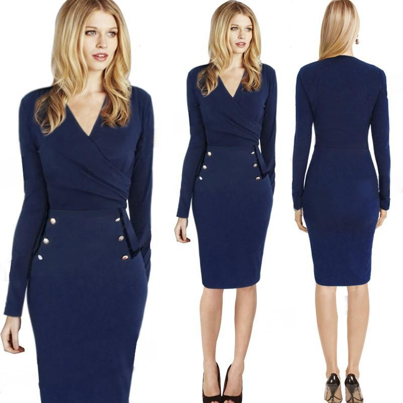 Women Professional Dresses Dark Blue Long Sleeved V Neck Pencil ...