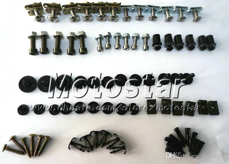 Nuevos pernos de tornillo baratos de la careta de la motocicleta fijados para YAMAHA 2003 2004 2005 YZFR6 YZF R6 03 04 05 carenados negros tornillo del mercado de accesorios atornilla piezas