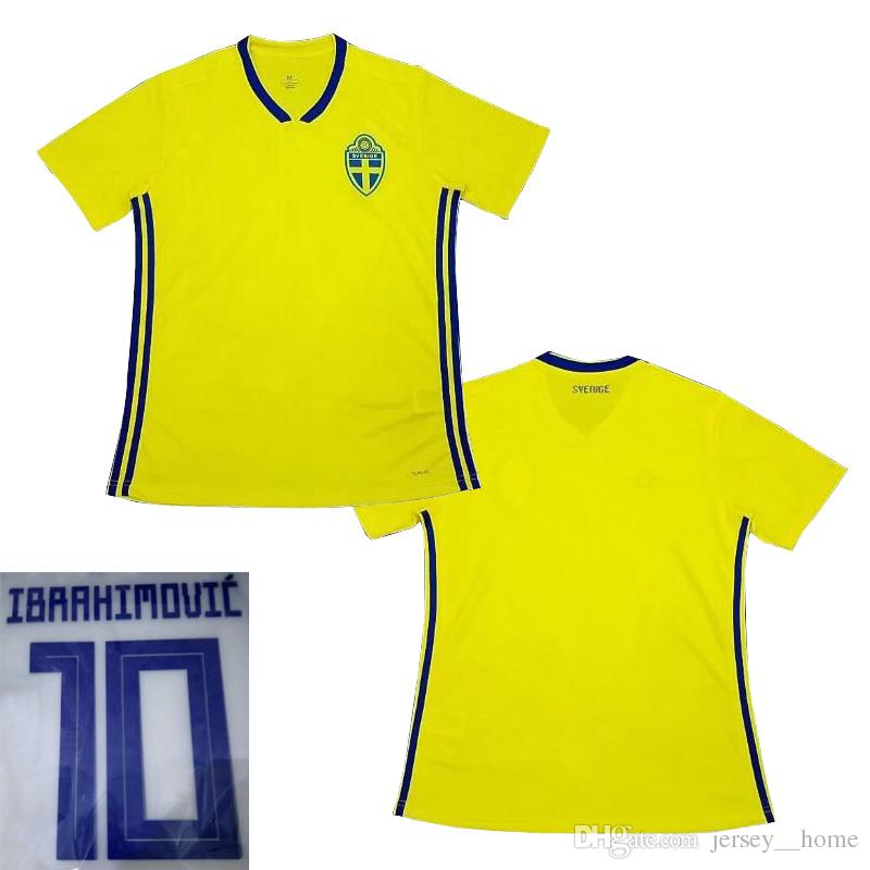 c5c82640c 2019 Thai Quality Customized 2018 Sweden Soccer Jersey Ibrahimovic Maillot  De Foot 2017 TOIVONEN Larsson Ljungberg Camisas Maillot Football Shirt From  ...