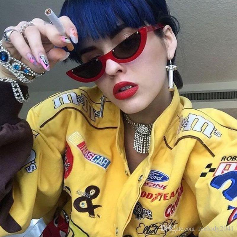 Occhiali da sole vintage cat eye 2019 semi-senza montatura cateye donne occhiali da sole i cerniera in metallo economici all'ingrosso eyewea