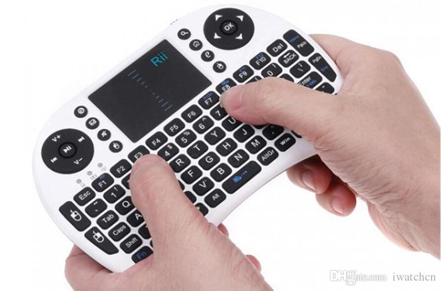 Rii I8 без подсветки Fly Air Mouse Мини Беспроводная портативная клавиатура 2,4 ГГц Сенсорная панель Пульт дистанционного управления для M8S MXQ MXIII ТВ BOX Mini PC