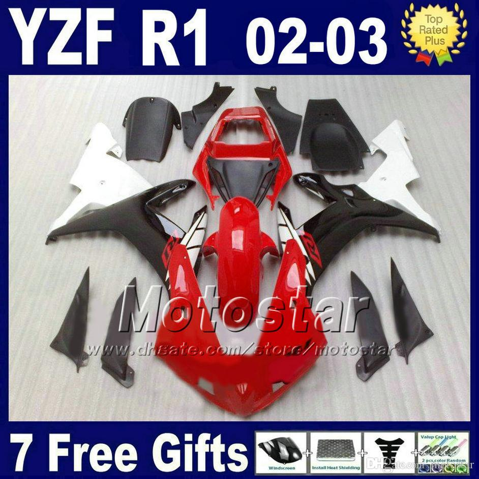 Hot sale Fairings for 2002 2003 YAMAHA R1 Injection molding red whtie body kits YZF1000 02 03 yzf r1 fairing kit parts set