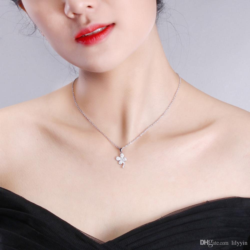 Deczign Top qualité Trèfles à quatre feuilles Femmes Colliers Pendentifs Lucky Clover Bijoux zircone Collier Femme Collares mujer SZ10329