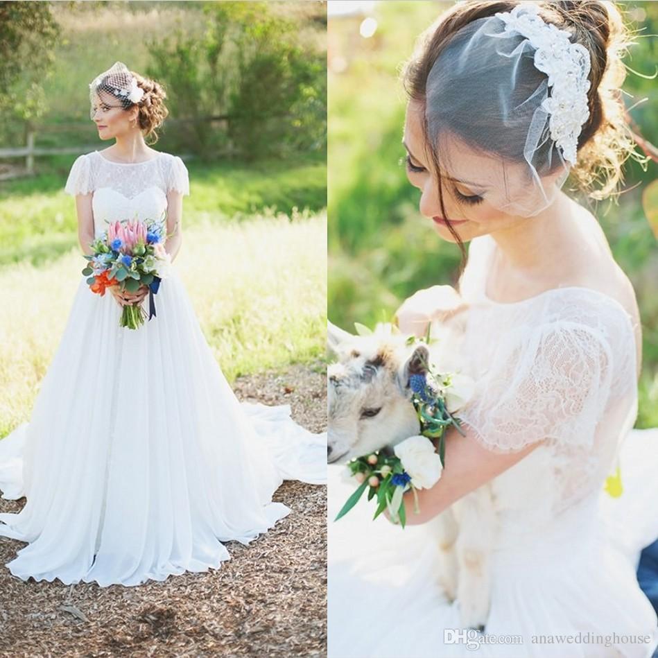 Short Sleeve Wedding Dresses With Sheer Neck Vestidos de Novia A Line Back Zipper Beach Vintage Simple Bohemia Bridal Gowns