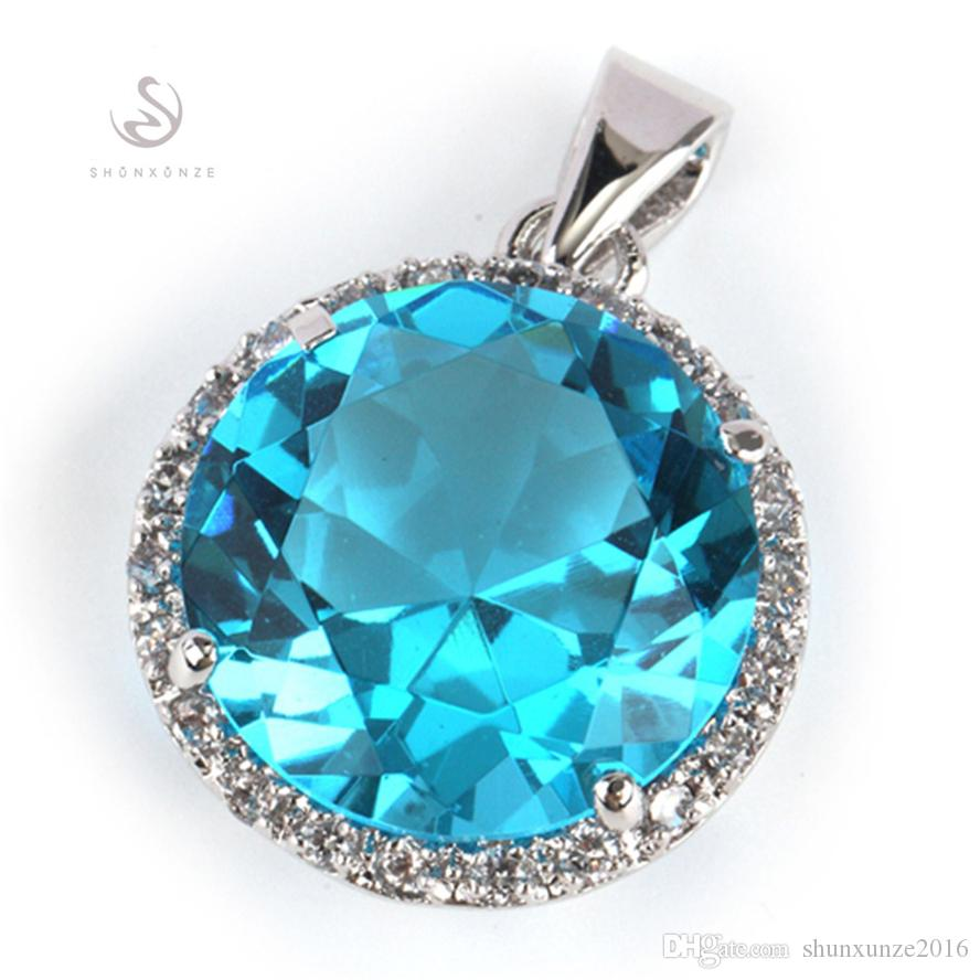 Brand New Noble Generous Hot MN748 light blue Cubic Zirconia Wholesale Copper Rhodium Plated Punk Promotion Pendants Time limited discount