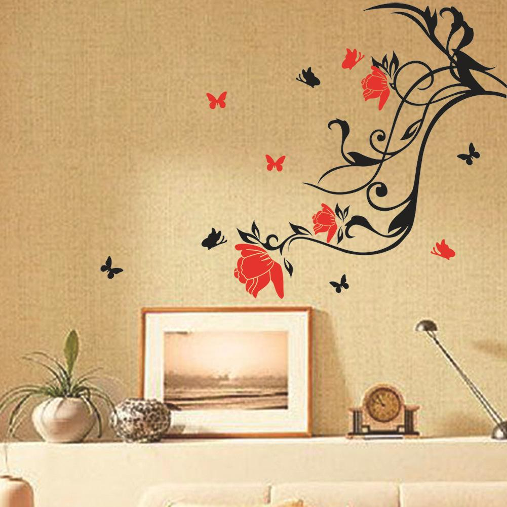 Red Flower Black Vine Butterfly Wall Sticker Art Home Decor ...